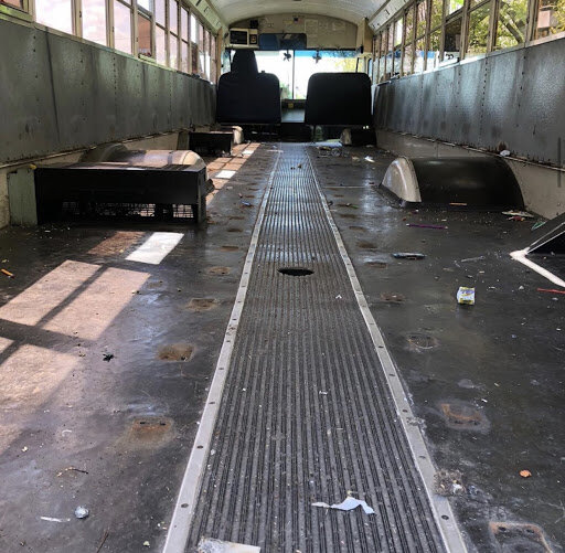 Inside of the school bus the Hamons bought, before renovations began. Photo courtesy of Serenity Bus Project Instagram.