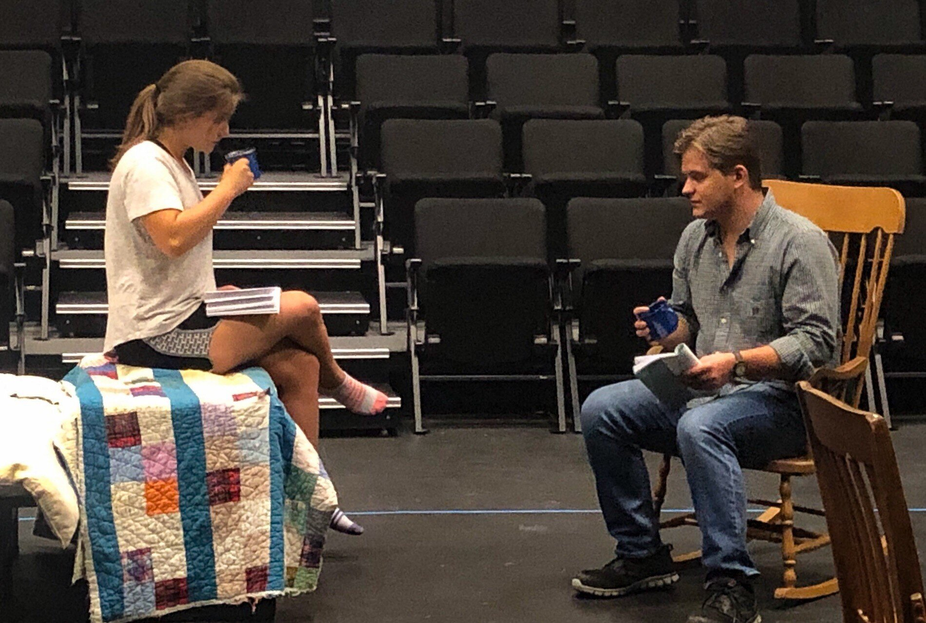 Laura Harris, portraying Rosannah, and Jake Wallin, playing Henry Harry, are seen during a rehearsal. Photo courtesy of the Lee University Office of Public Relations.