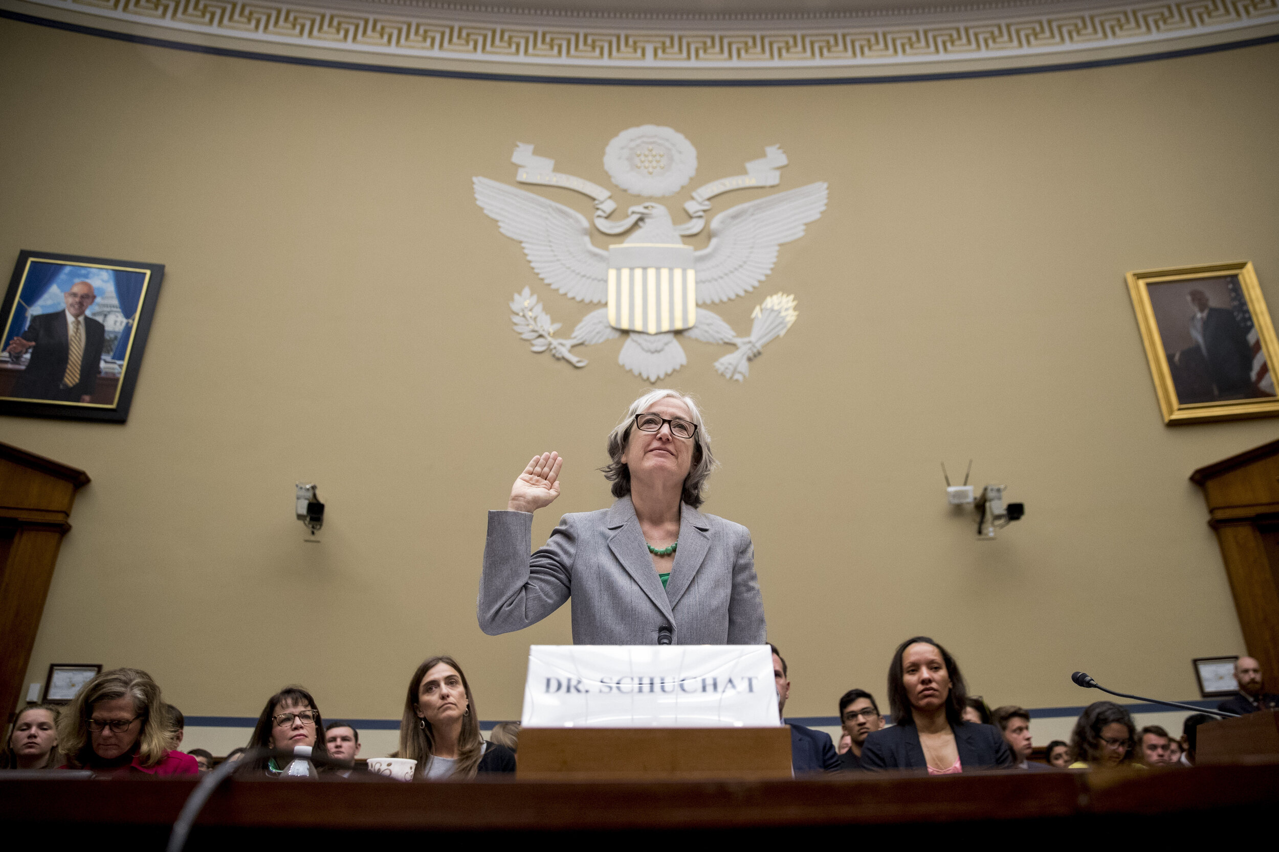 CDC Principal Deputy Secretary Dr Anne Schuchat is sworn in as she appears before a House Oversight subcommittee hearing on lung disease and e-cigarettes on Capitol Hill in Washington on Tuesday, Sept. 24, 2019. (AP Photo/Andrew Harnik)