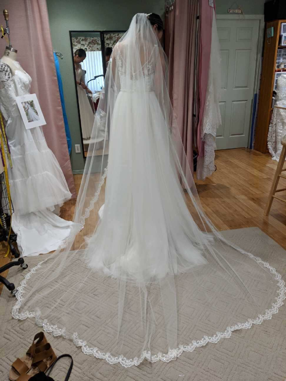 Final fitting in my studio  Cathedral veil with scalloped sequin trim