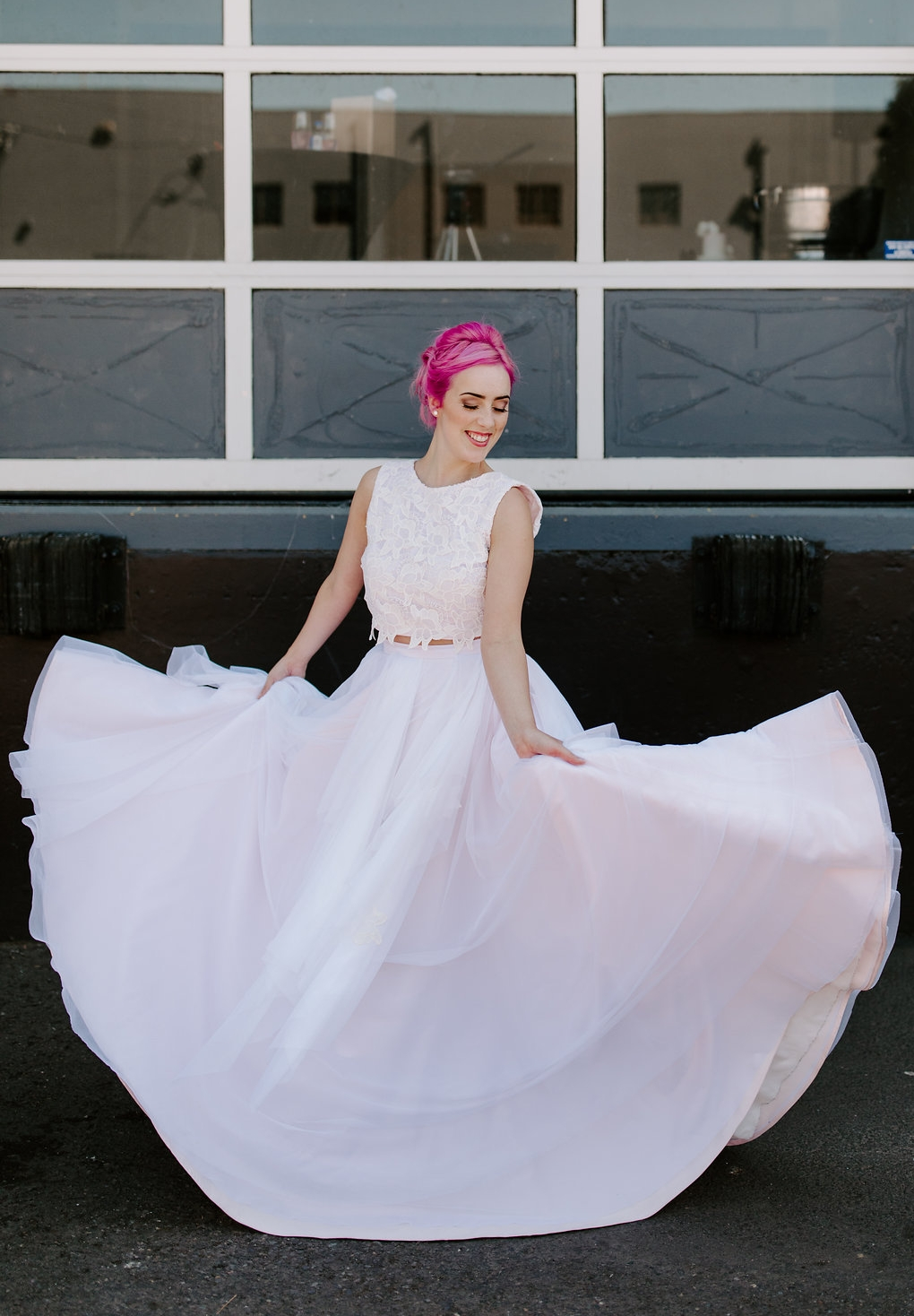 Custom 2 piece wedding dress. Multi-layer/tiered circle skirt with crop lace top - blush satin and tulle