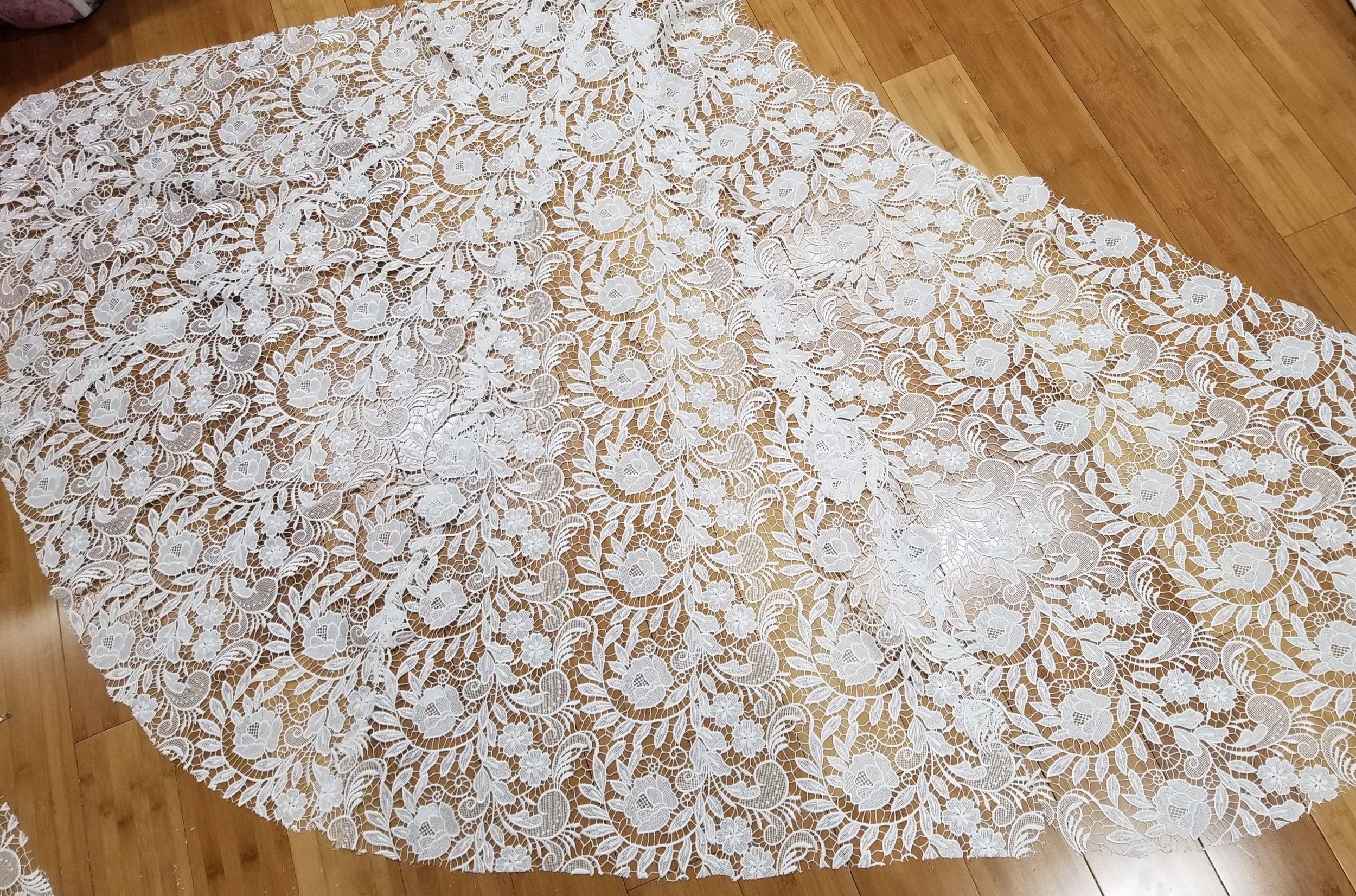Guipure lace overlay