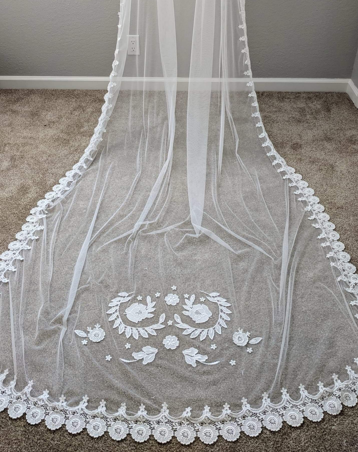 Custom cathedral length veil