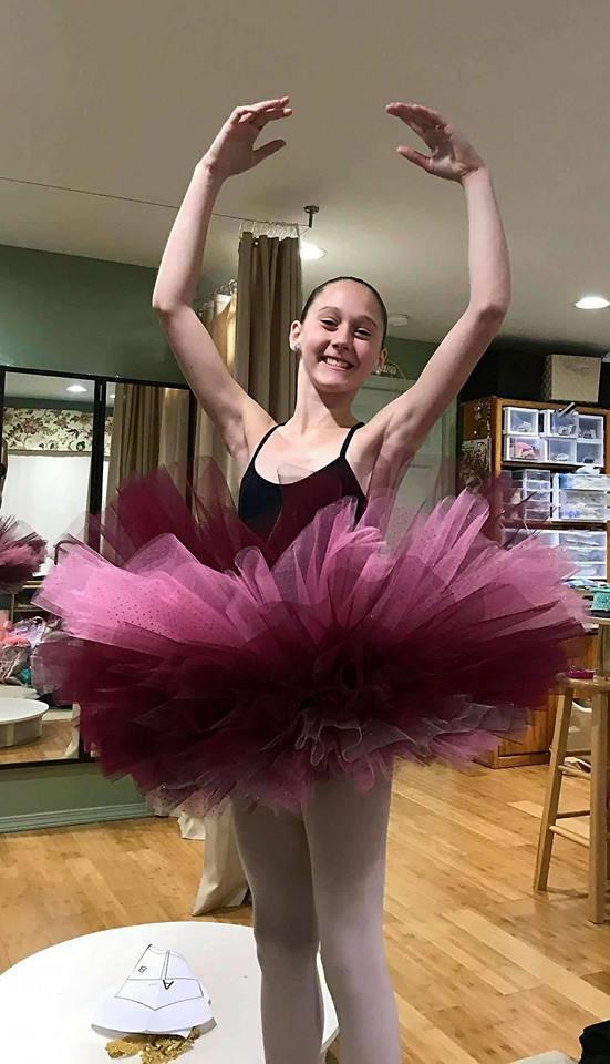 Happy Ballerina!  Before quilting the tutu