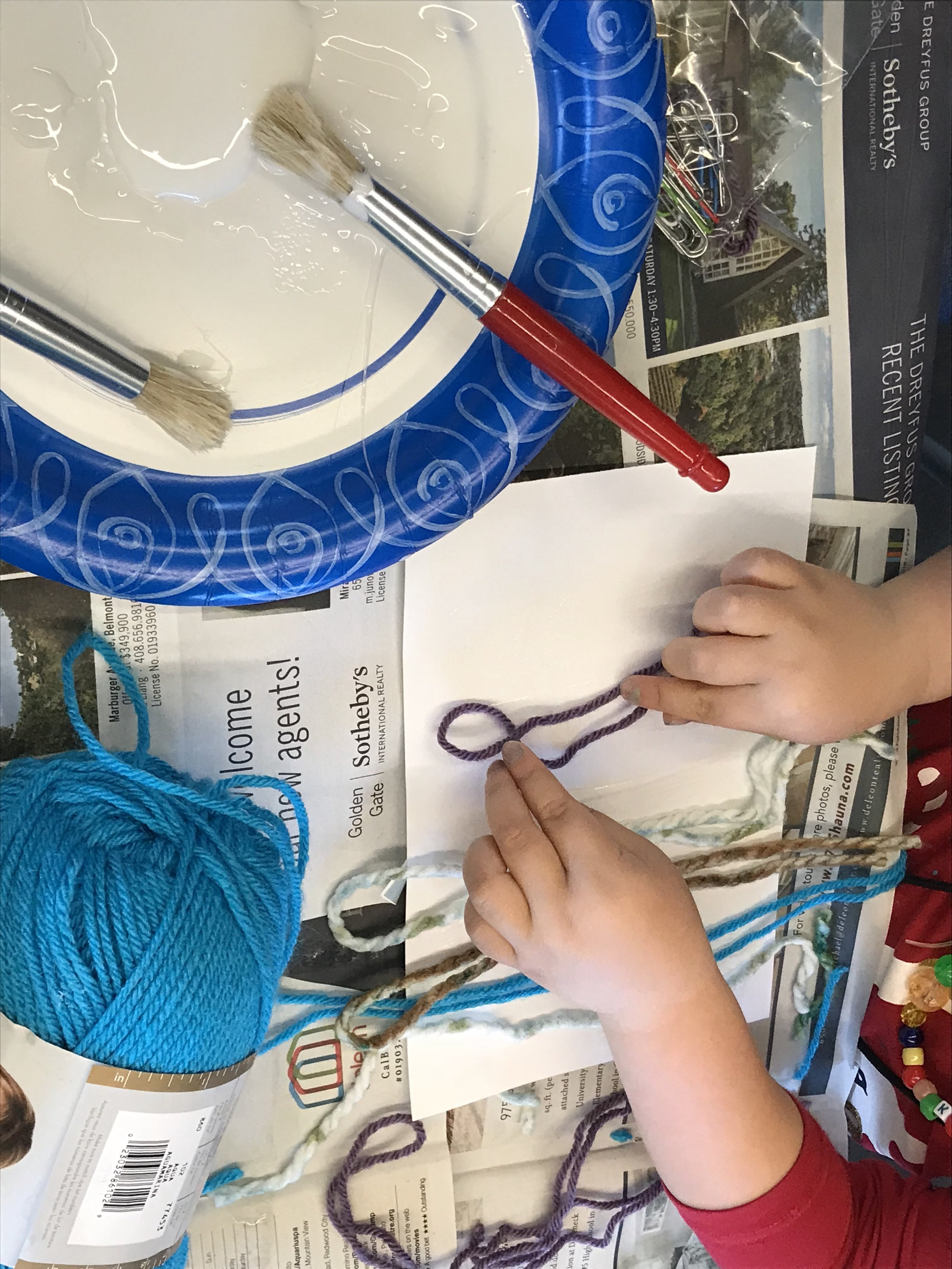 This student was very precise in her yarn placement. Each child approached both the projects differently and had fabulous results.