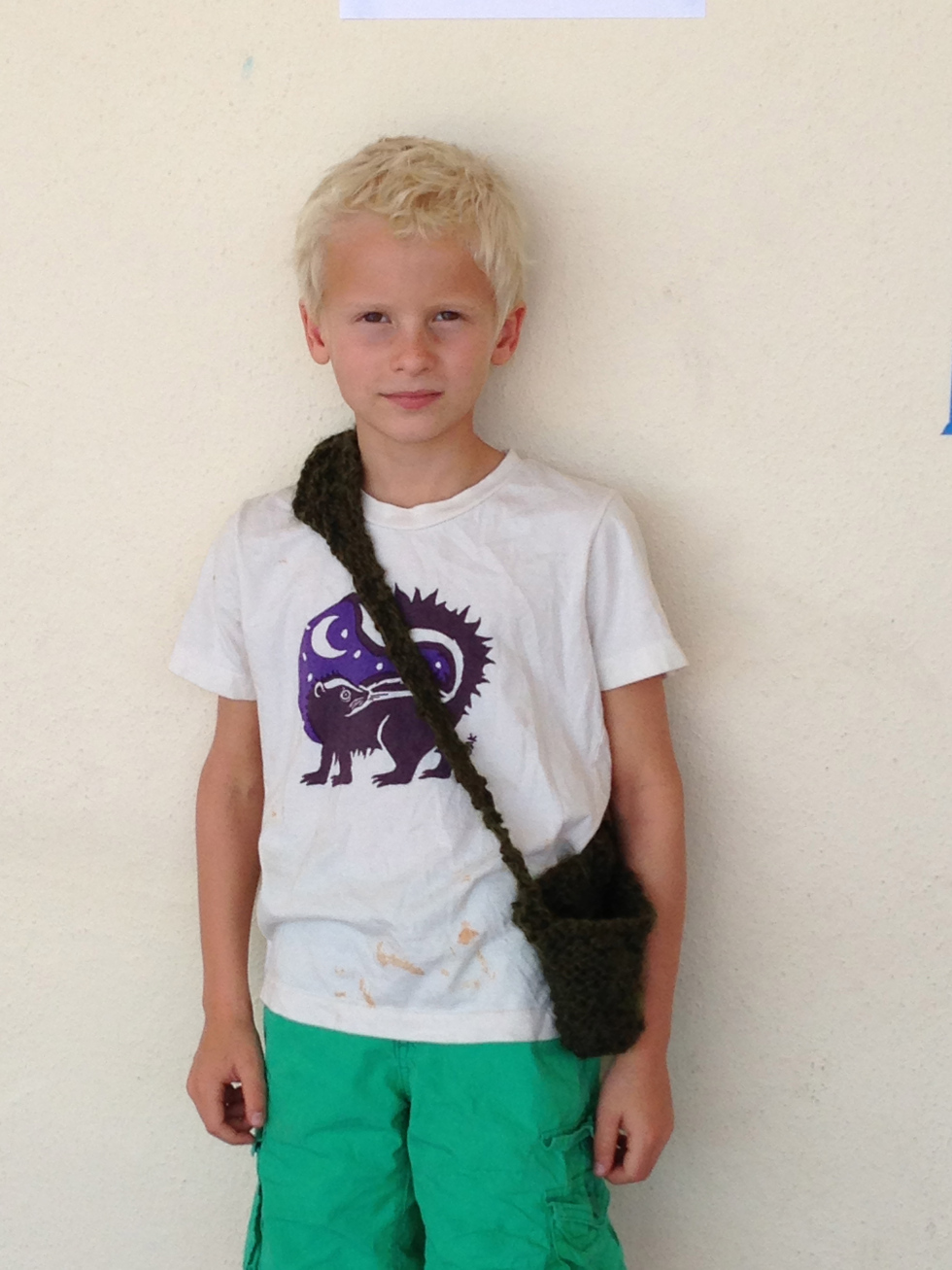 3rd grader with his finished bag.