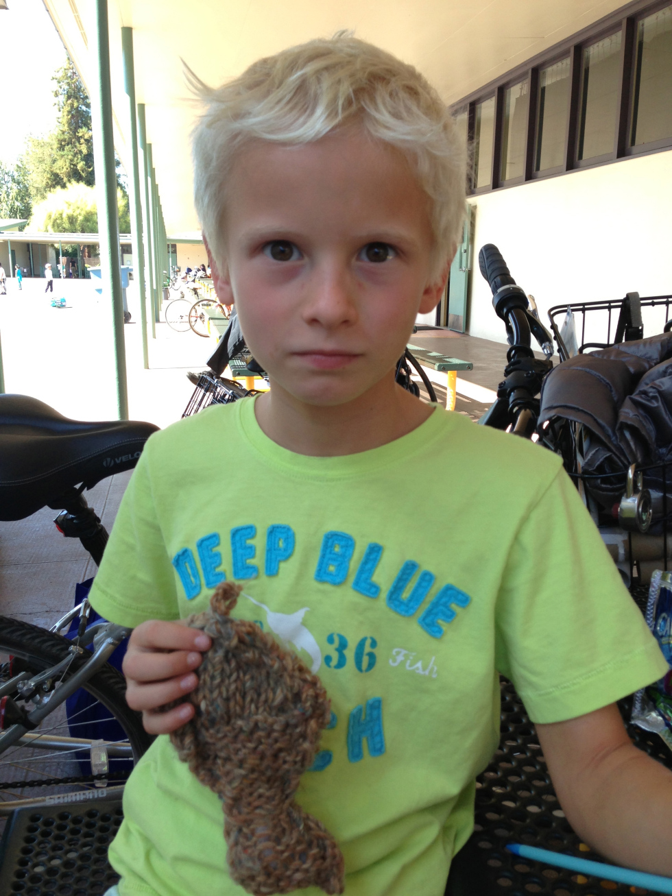 What to make next… hmm… a fish toy for his cat. (3rd grader)