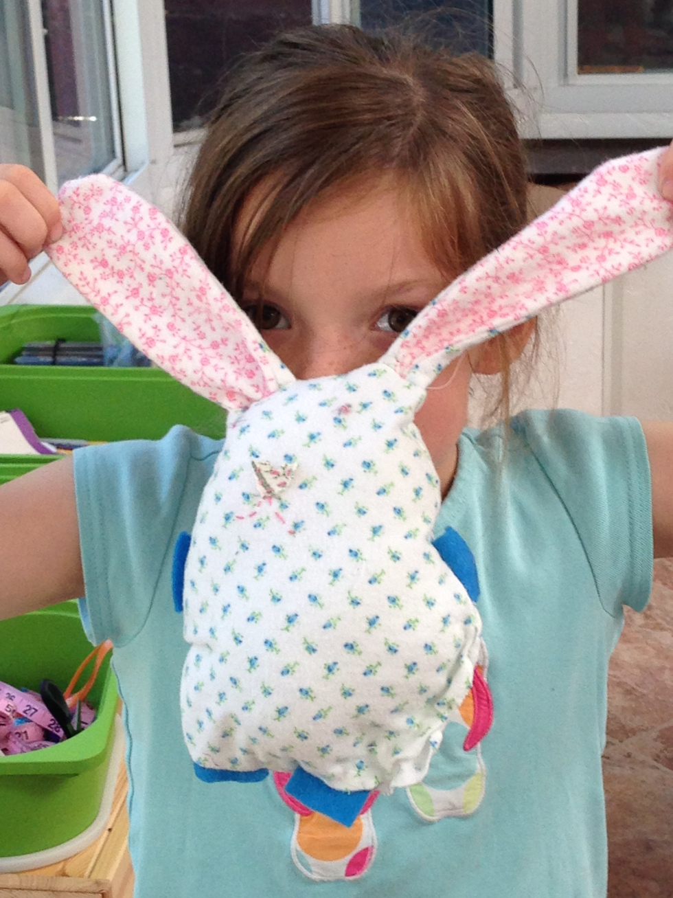 1st grader bunny pillow