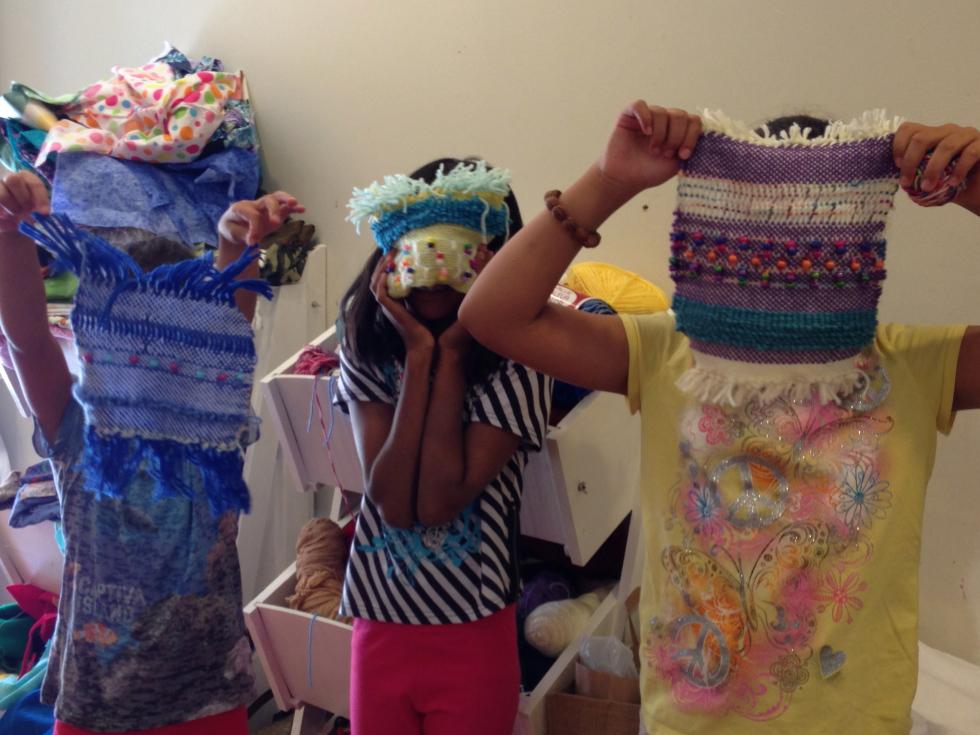 Proud campers with their weavings!