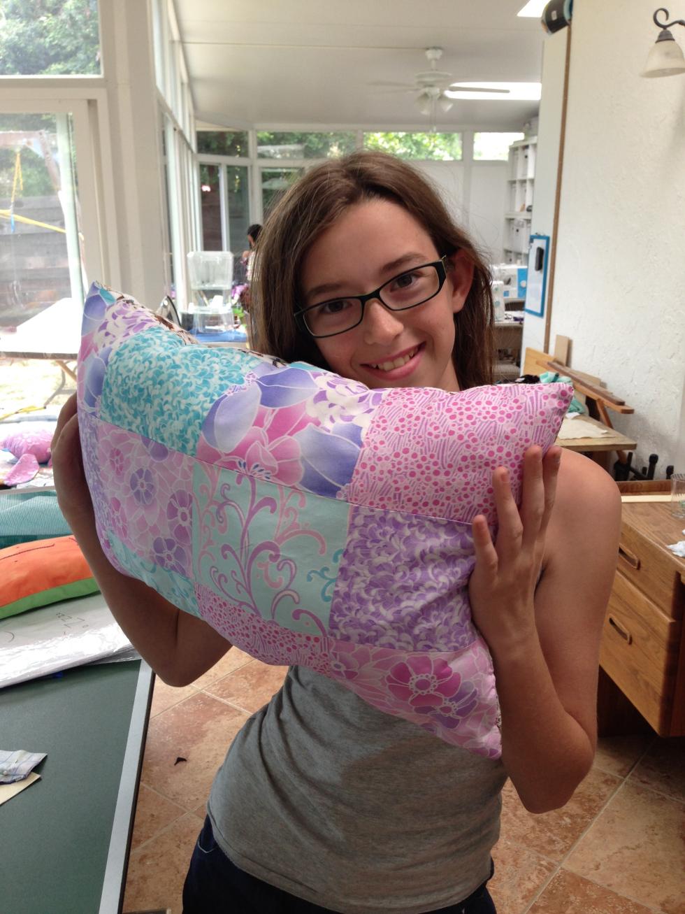 7th grader patchwork pillow