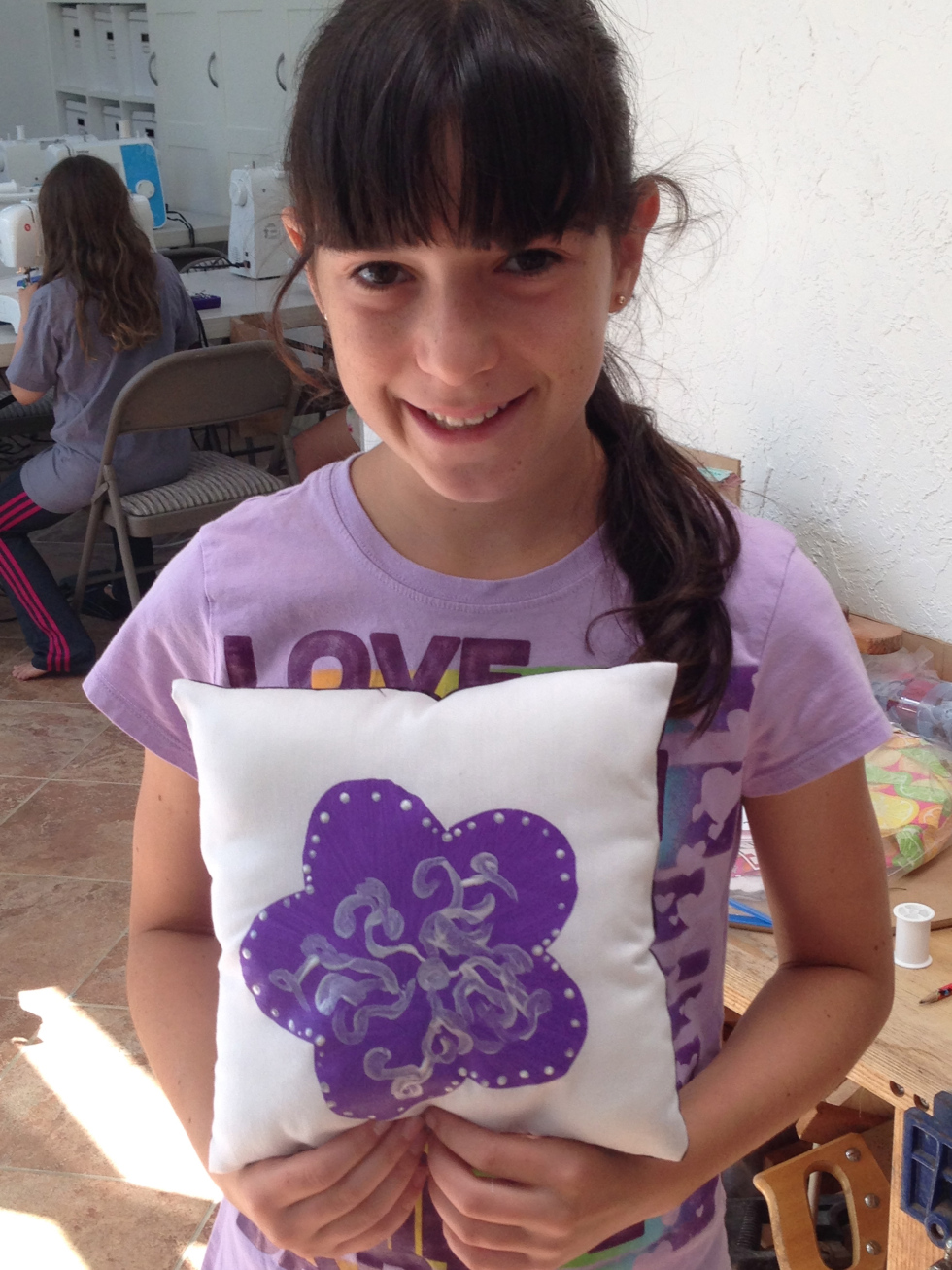 6th grader painted pillow.