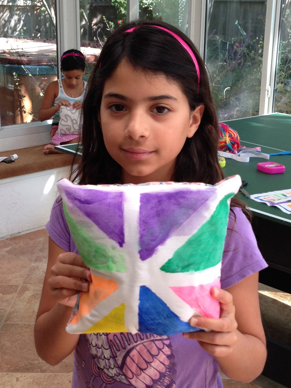 4th grader painted fabric pillow.