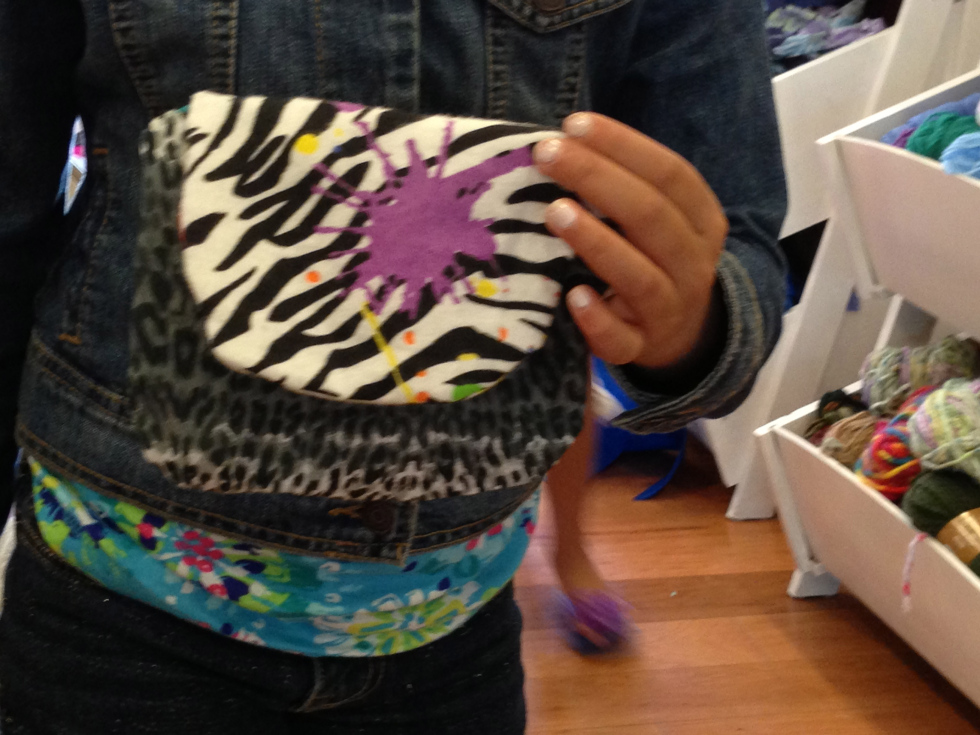 3rd grade bag designed by student – complete with zipper sewn in by hand.