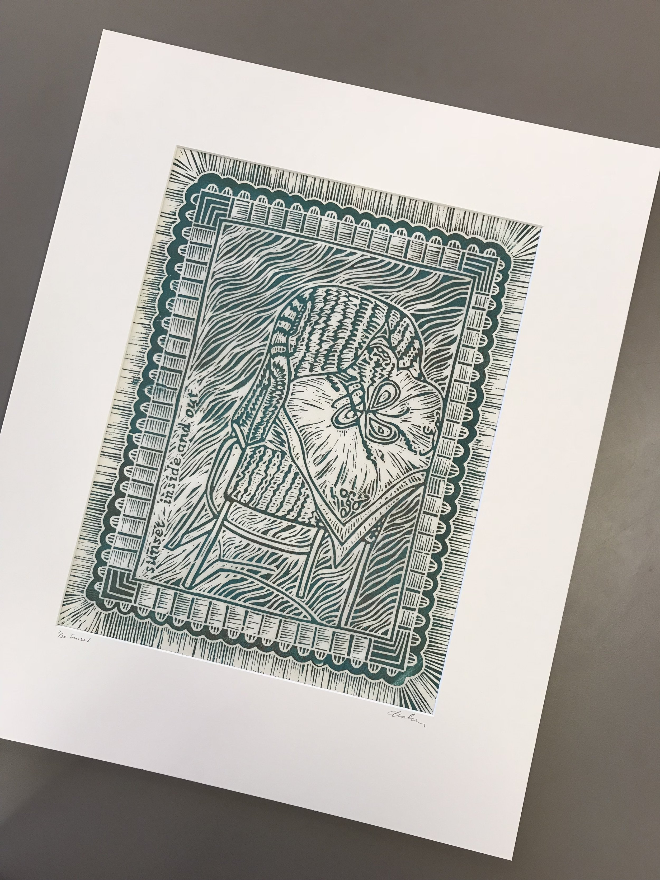 When you purchase one of our original handprinted linocut prints they come mounted in a white matt and backed on foam core, signed and numbered and tightly wrapped in cellophane.