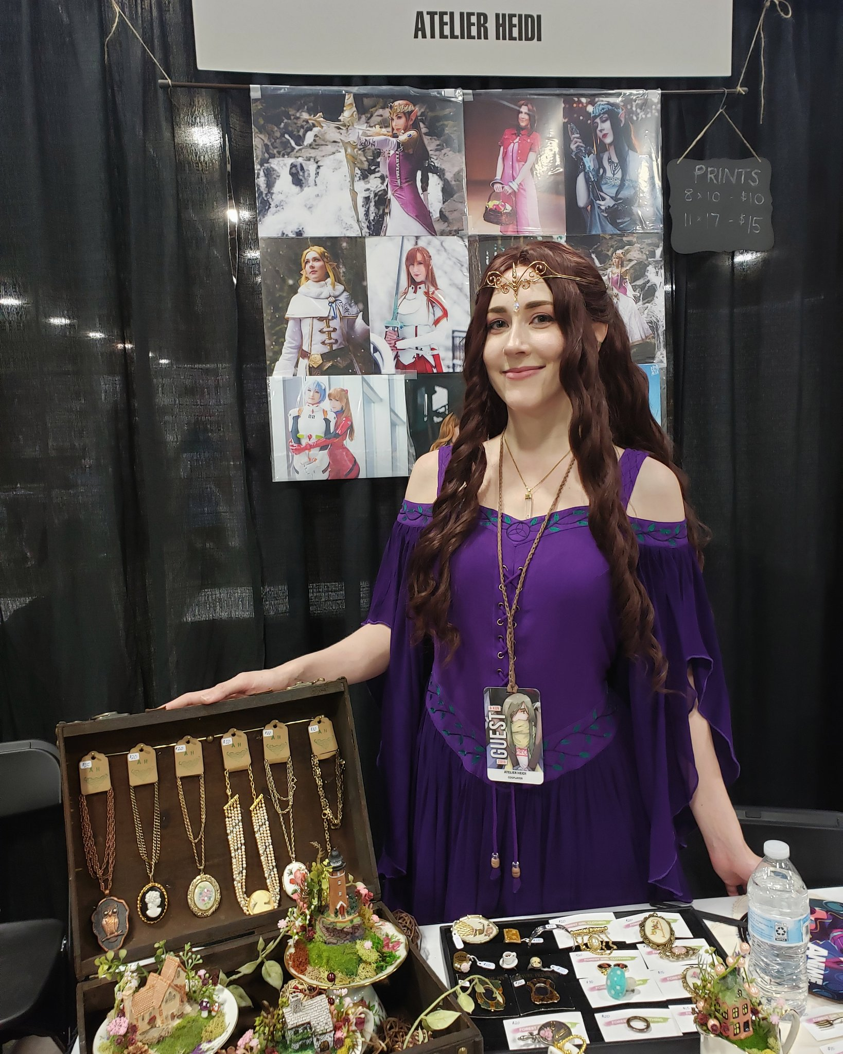 My cosplay booth setup at A-kon this year. Dress: Holy Clothing | Wig: Arda Wigs