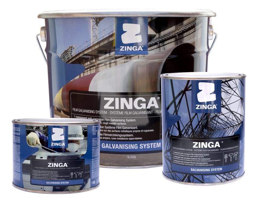 ZINGA - The Film Galvanising System ZINGA is a one pack coating that contains 96% zinc in the dry film and provides cathodic protection of ferrous metals. It can be used as a unique system as an alternative to hot-dip galvanisation or metallisation, as primer in a duplex system (active + passive) or as a recharging system for hot-dip galvanisation, metallisation or zinganised surfaces. It can be applied by brushing, rolling or spraying on a clean and rough substrate in a wide range of atmospheric circumstances.ZINGA is also available as an aerosol and is sold as Zingaspray.For more product information click on the data sheet links:*TDS ZINGA
