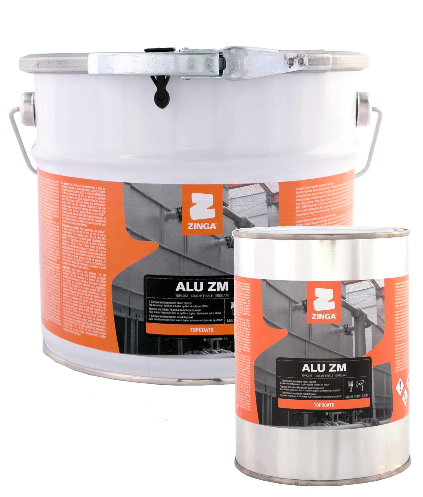 ALU ZM - Alu ZM is a quick drying one pack coating based on aluminium flakes. It can be applied directly onto old, on corroded hot-dip galvanised or thermal sprayed zinc substrates or as an aluminium topcoat on ZINGA. It can be applied by brushing or spraying in a wide range of atmospheric circumstances. Alu ZM is mainly applied for aesthetical reasons as it gives a shiny aluminium aspect, but it also has good chemical and abrasion resistance which allows it to be used in industrial environments.For more product information click on the data sheet links:TDS Alu ZM