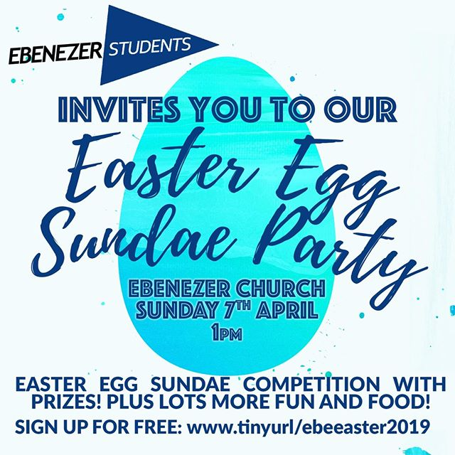 Last chance to sign up for the Easter Egg Sundae party on Sunday. We want as many people as possible to join us with their friends. There's food to be eaten, prizes to be one and much fun to be had. Sign up now: www.tinyurl.com/ebeeaster2019. See you all there! #easter #eastereggs