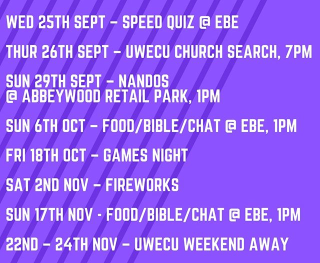 Cheeky little plan for our student & young adult community for the next couple of months. Get involved, share it, & bring friends. Flyers available on Sunday. More detail will follow...
