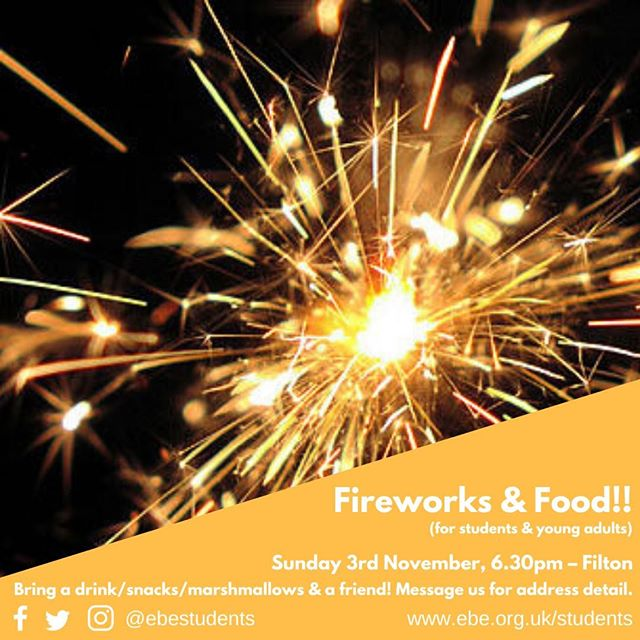 Coming up.... all things Firework related, for all students & young adults! Bring a friend or two, let us know you're coming.