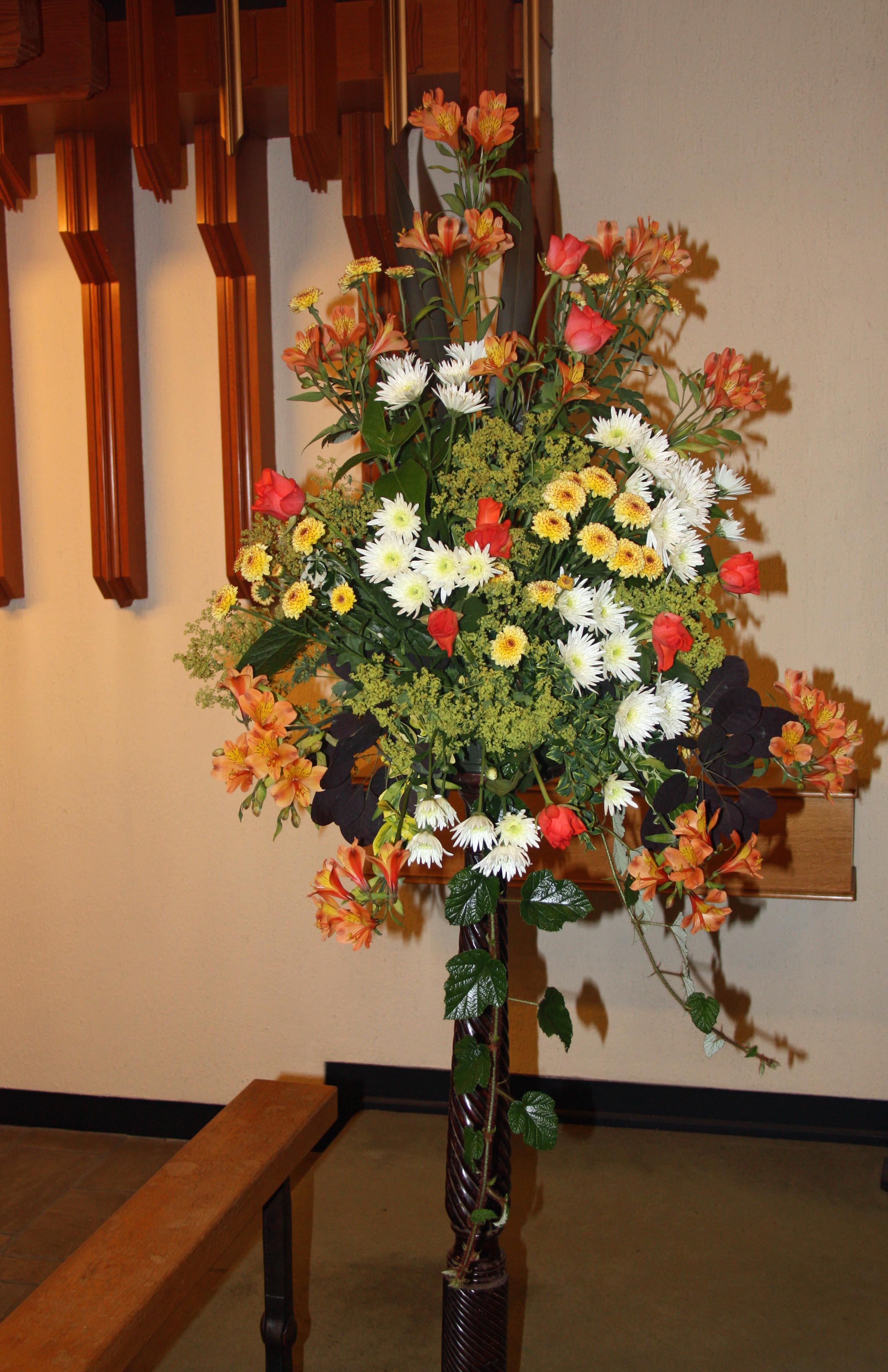 Flower arrangement at Barlaston Church -