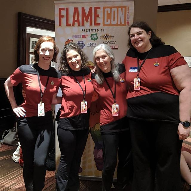 "Where: #flamecon2019 #flamecon @instaflamecon  Mission: Make a musical episode of #startreknextgen based on audience suggestion.  Suggestion: ""Q is for Queer."" Crew to complete the mission: (left to right) @deathmetalrooster, @sloanemillernyc, Susan, and Julia. (Nicole and Catherine are on away missions.) Mission completed by @redshirtsmusicalimprov.  Thank you @instaflamecon for another wonderful con!"