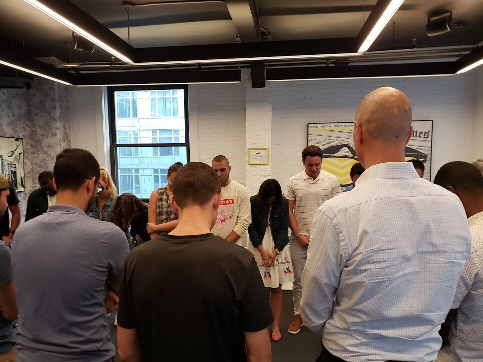 """A recent workshop, just the moment before the """"Reverse Jenga"""" exercise"""