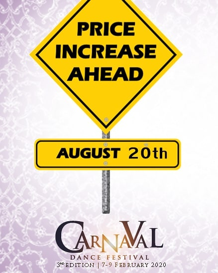 Tomorrow the 20 th August - the full pass for Carnaval will increase from the amazing opening offer - 💥💥💥Of €99 to €119💥💥💥 Finnstown Hotel room rates from the 20 th August on will increase to ( room for two people with breakfast)  Friday 7th Feb €115 Saturday 8th Feb €125 Sunday 9th Feb €105 💥💥Rooms are selling quickly - almost all the twin rooms are now sold💥💥 So there is four days to get the full pass at €99 and to get the hotel at their cheaper rates - for  those interested in the best deal for the Carnaval event try and get your booking done before August 20th . 📢📢1 DAY TO GO BEFORE FIRST PRICE LIFT FOR THE CARNAVAL EVENT⏰⏰ All bookings can be made at  https://www.carnavaldancefestival.com/buy-your-pass  DANCE - ENJOY - SHARE
