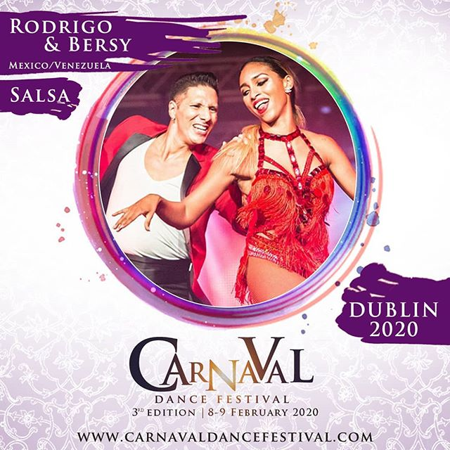 Carnaval Dance Festival this 7-9 of February 2020 presents @rodrigo.cortazar.210 y @bersycortez 💃💯 We are very excited to have for the first time in Ireland, one of the most famous couple in the current Salsa scene. Bersy Cortez is one of the best at salsa lady style in the world, and Rodrigo Cortazar - he is one of the top male salsa dancer and teacher in the world. They are a fantastic dance partnership - both of them bringing their undoubted charisma, style and knowledge to the dance floors across the world.  Follow them here: 👉Instagram: https://www.instagram.com/bersycortez/ https://www.instagram.com/rodrigo.cortazar.210/  Get your tickets here: www.carnavaldancefestival.combuy-your-pass 📢📢📢Early bird ends up on the 20th of August⏰⏰⏰ Full event details: 👉www.carnavaldancefestival.com  3 days of dance. More than 50 hrs of training. This year with a 90 min class format. 3 dance floors. Amazing Shows and great music : : #carnavaldancefestival #salsadancing #socialdancetv #salsamania #salsacongress #salsafestival #mamboland #mambo #salsa #dancetv #salsadance