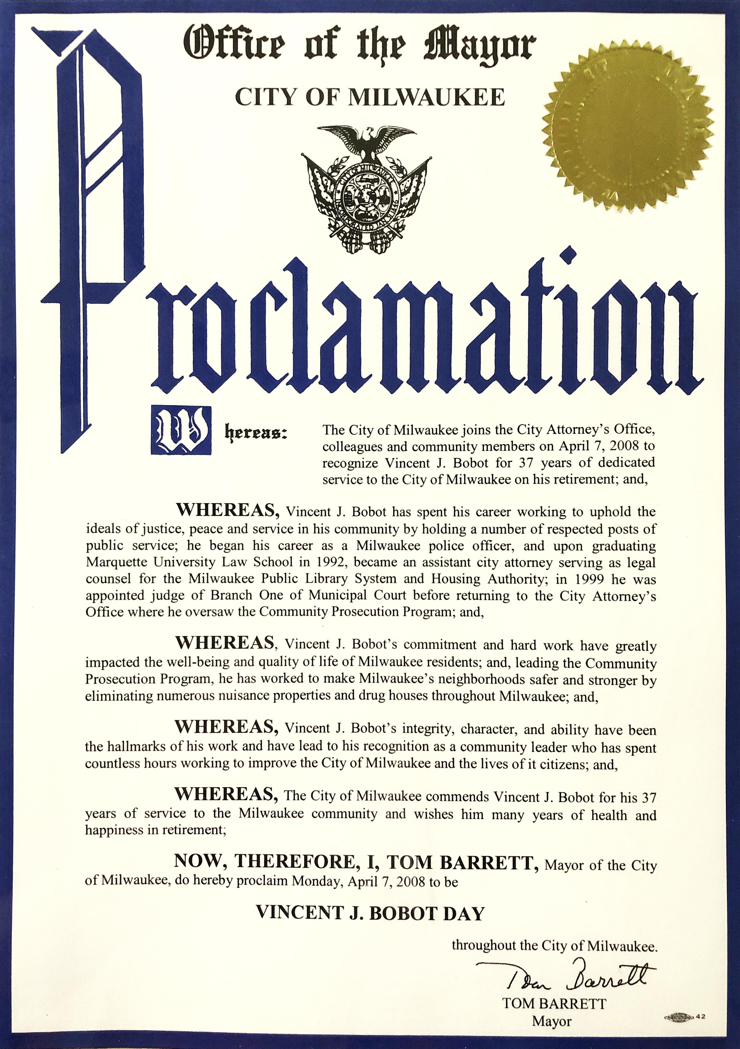 Proclamation of Vince Bobot Day, April 7, 2008