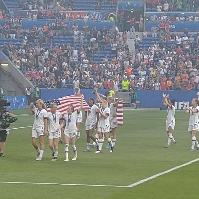 The U.S. Women's National Team, moments after winning the 2019 Women's World Cup in Lyon, France.