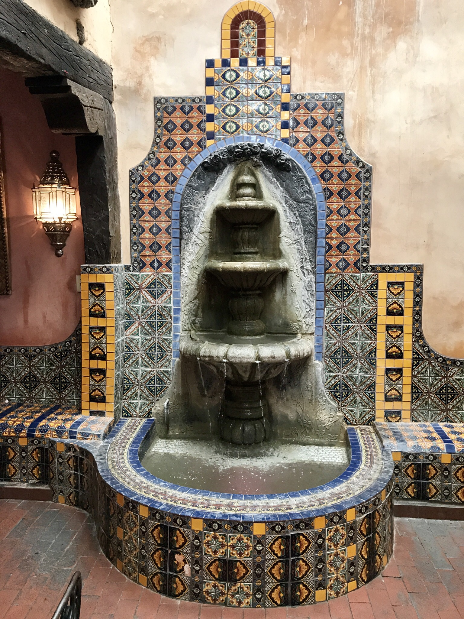 A fountain located inside the restaurant, La Posta.