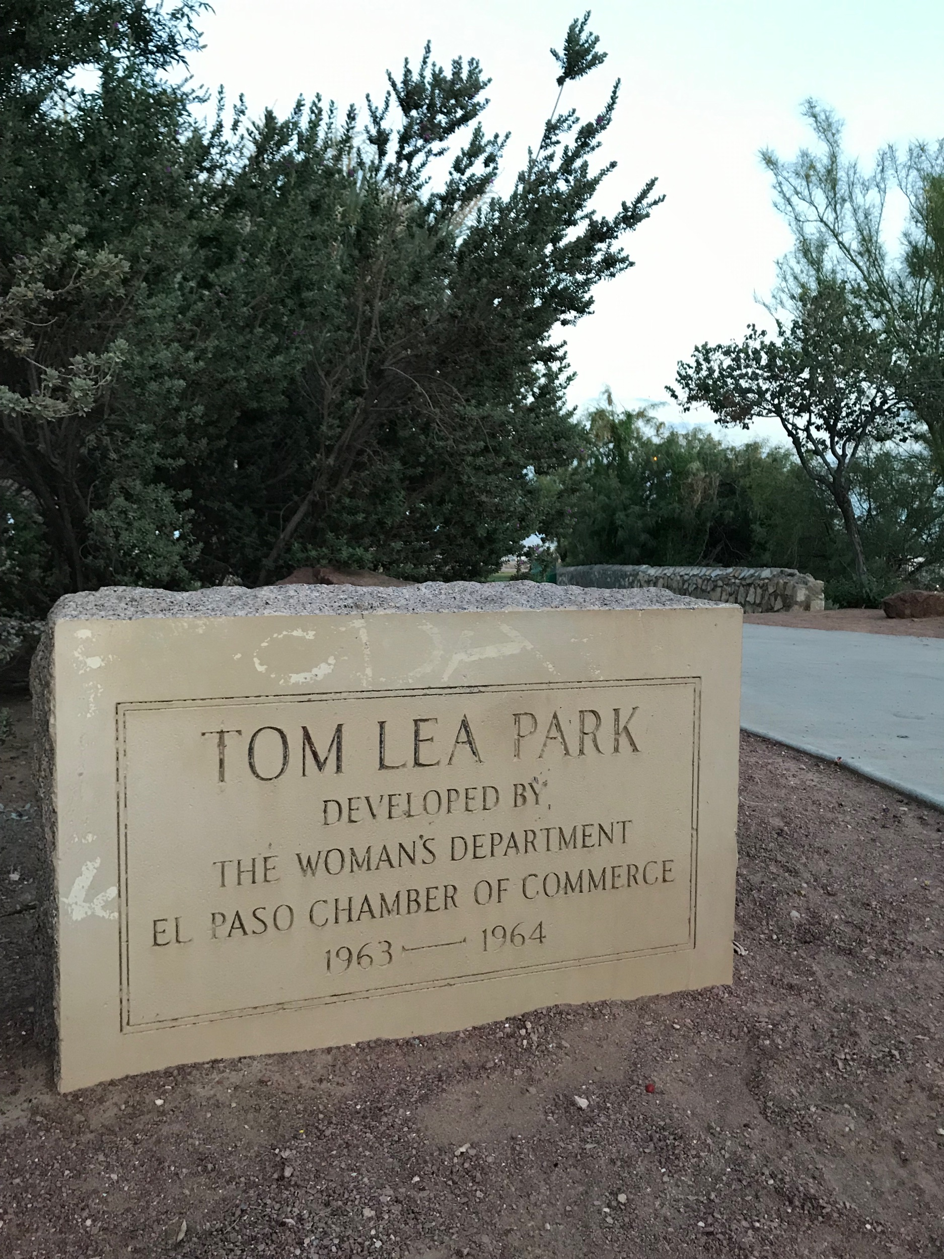 As you walk into the park, there's a cement placard with the park's name showing it was developed by the Woman's Department El Paso Chamber of Commerce (1963-64).