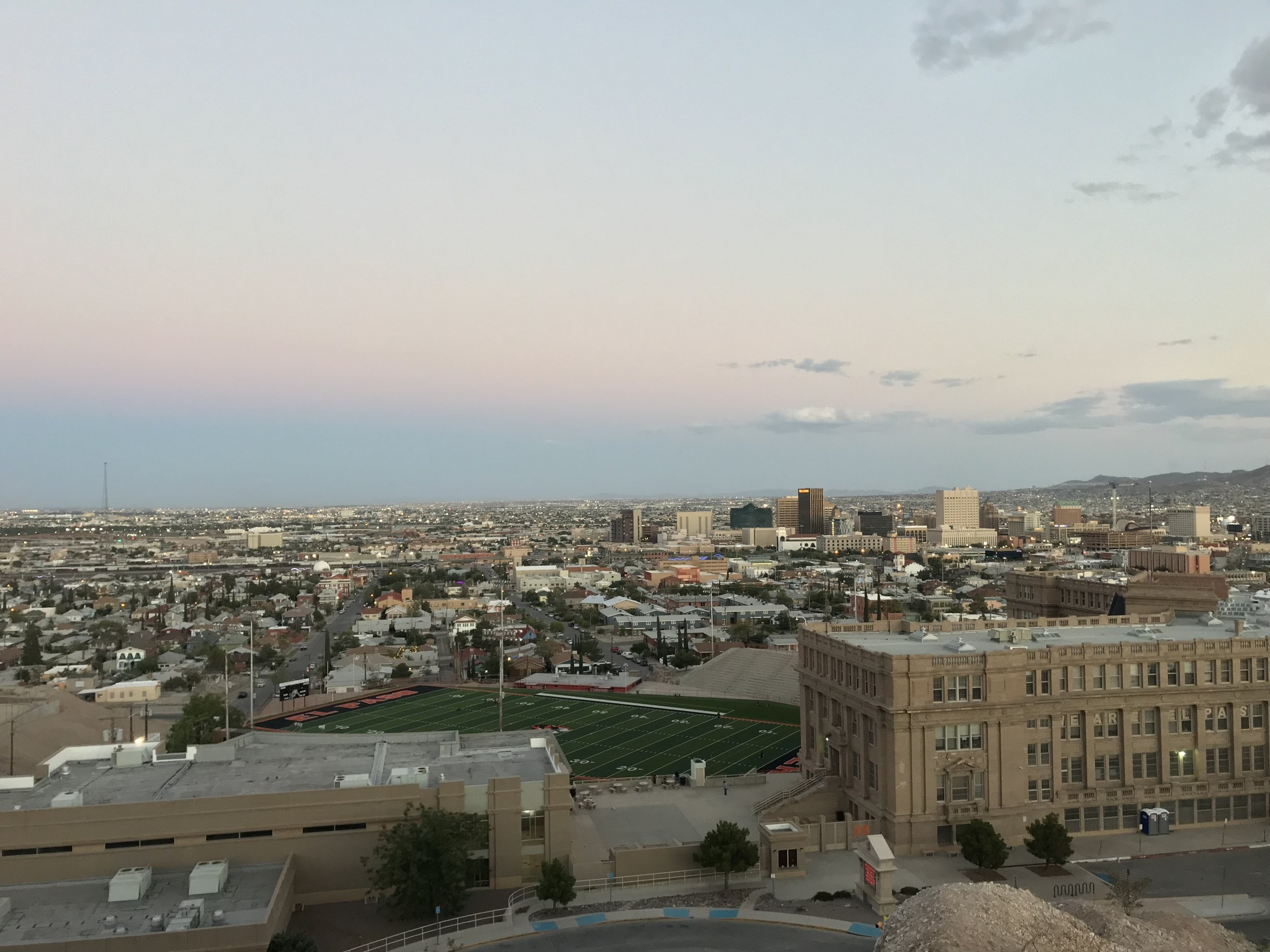 The view at the edge of the park looking southeast. You can see the high school football field and even Mexico past downtown El Paso.