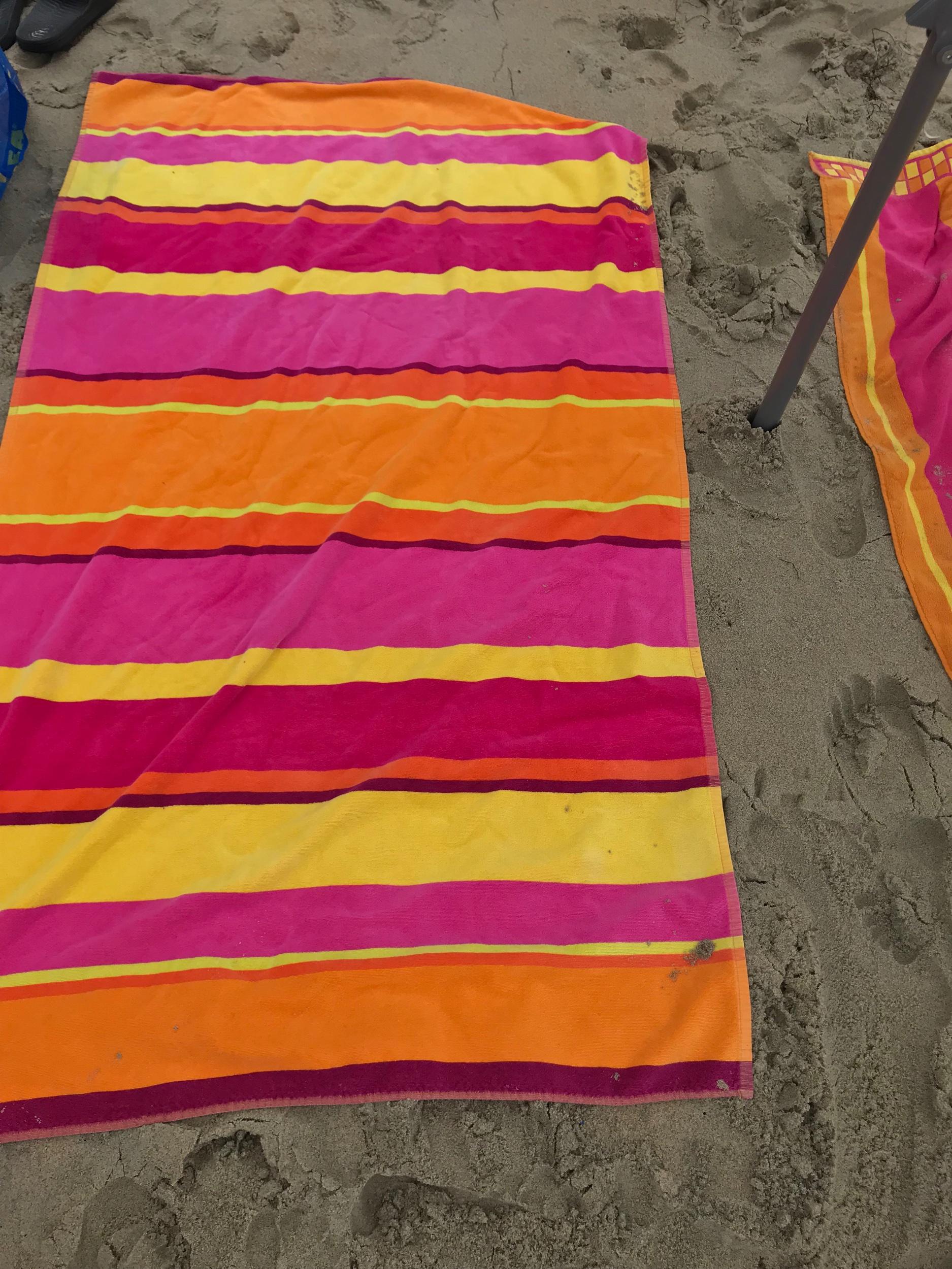 Beach blanket on the sand