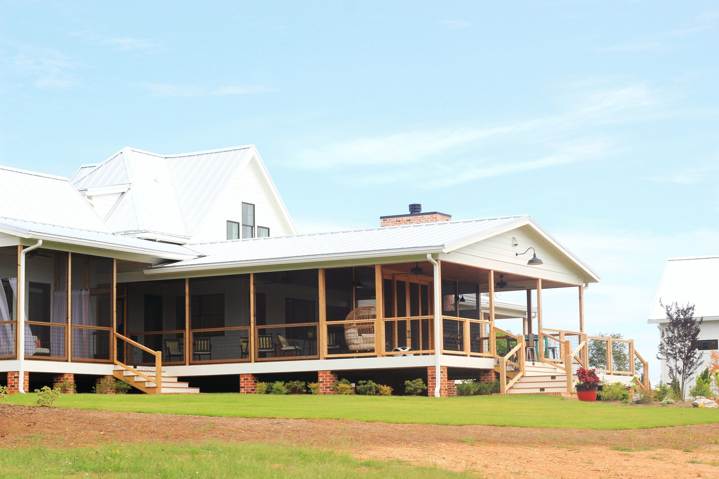 Our back porch has beautiful views of the pastures and plenty of room for all your friends and family.