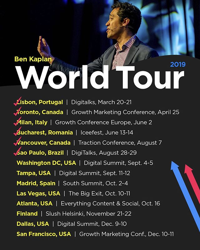 Catch me on TOUR! 🗺 Let's talk about going viral through data-driven marketing and have a ton of fun doing so.  Am I coming to your city? Leave a 📍 and a recommendation of what I should see, do, and eat!