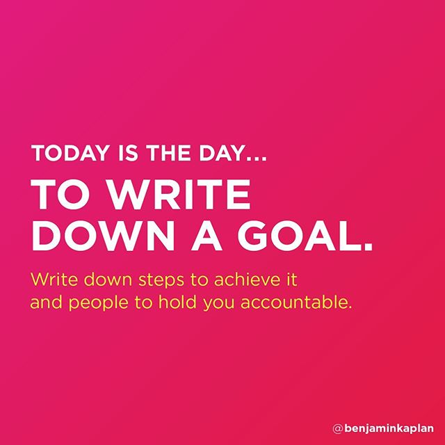 Goals are so important. It's how we continue to grow and improve as people. As employees. As partners. As friends.  Many of us have goals in certain areas of our lives but neglect to make them in others. It's statistically proven 📈 that when you write a goal down, you're more likely to complete it.  My challenge to you today is to write down a goal of any kind. Then, write down some steps you'll take to achieve it and people to hold you accountable. Make your objective tangible and manageable. When you complete it, celebrate! Hard work deserves to be rewarded. Who's with me? 🤜  Fist bump me back 🤛 if you're ready to tackle this challenge with me today!