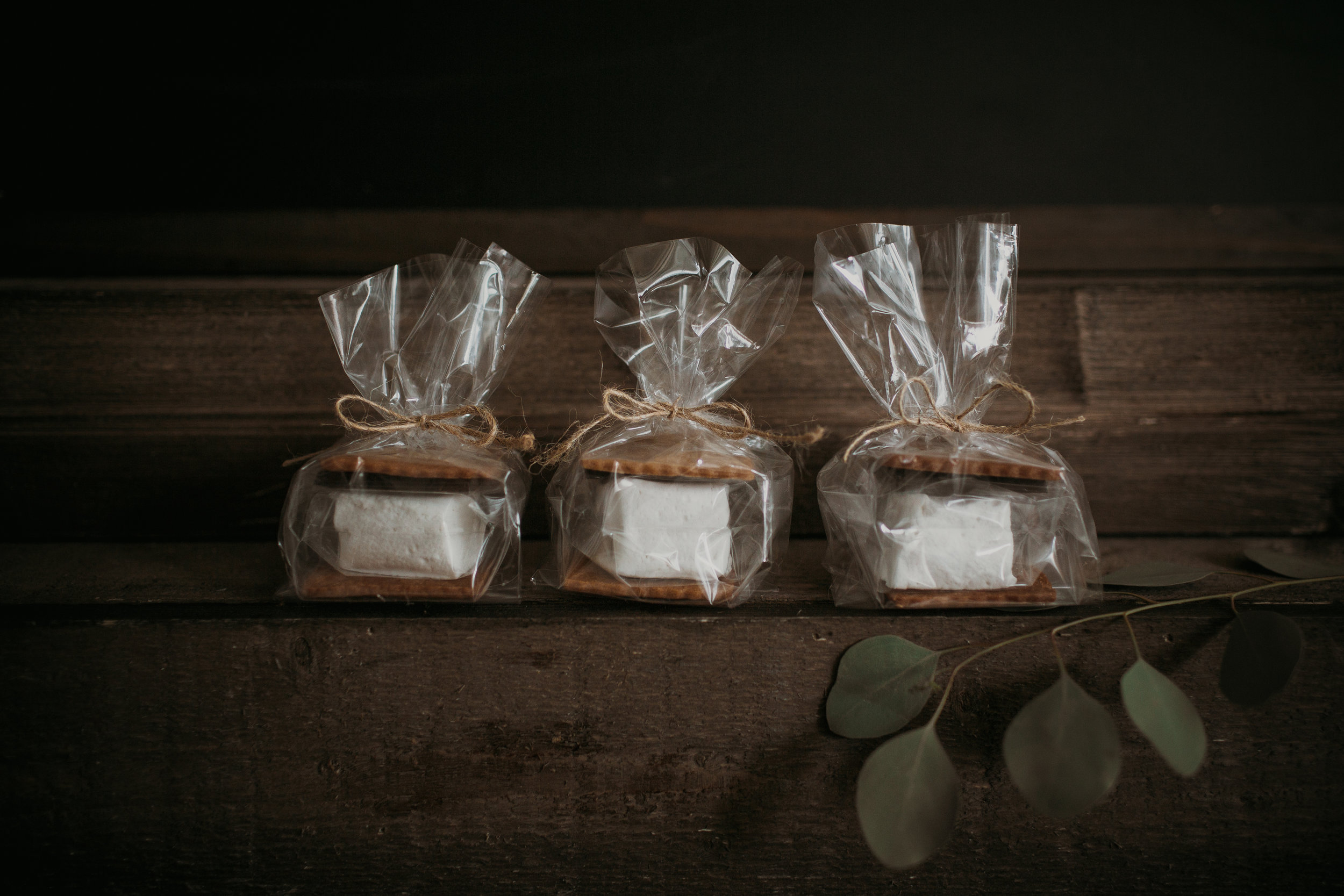 - Individually wrapped and tied with a ribbon, these treats make a great take away for your guests. Custom tags and branding available.Marshmallows $3.00 | S'mores $4.25