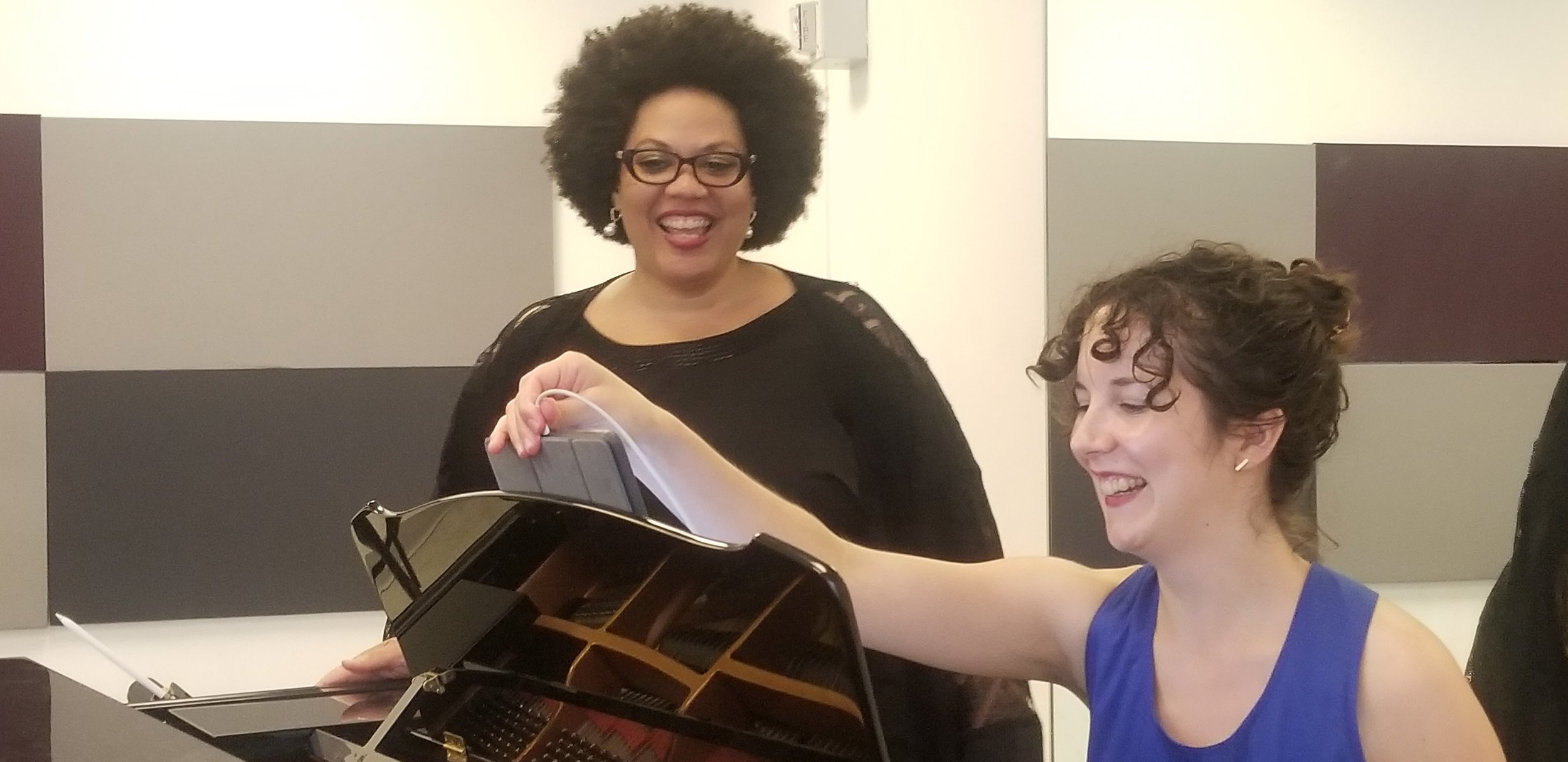 In rehearsal: Adrienne Danrich & Mila Henry