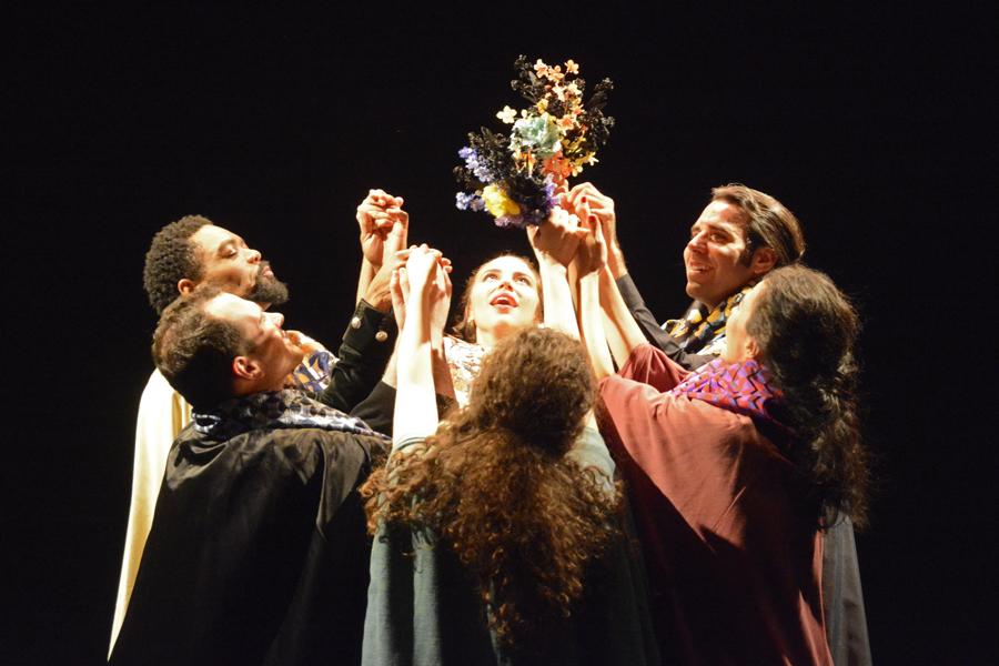 clockwise from upper left: Valcour (Holcomb), Léontine (Siladie), Ophémon (Flaxman), Dorothée (Cardona), Jeannette (Arbisser), Colin (Festa)  Photo by Tina Buckman