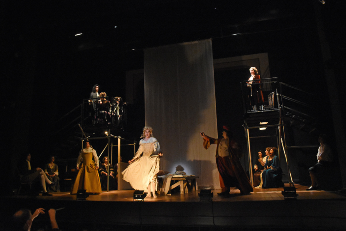 Kynaston (M. Kelly) with full cast looking on - Photo by Tina Buckman