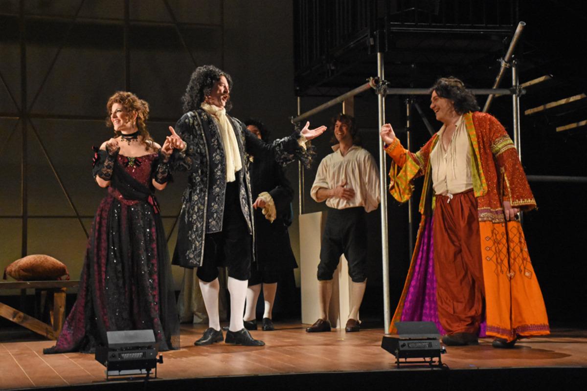 Nell Gwynn (S. Apostolou), Charles II (Marc Schreiner), and Thomas Betterton (R. Loyd) - Photo by Tina Buckman
