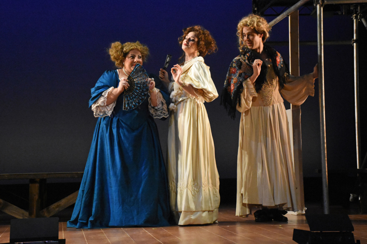 Miss Frayne (M. Trovato), Lady Meresvale (H. Ginther), and Kynaston (S. Owens) - Photo by Tina Buckman