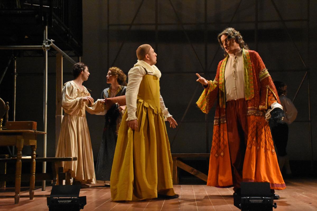 Male Emilia (O. Iraheta) and Betteron (M. Curran) with Kynaston (S. Owens) and Hughes (J. Sandidge) in background - Photo by Tina Buckman