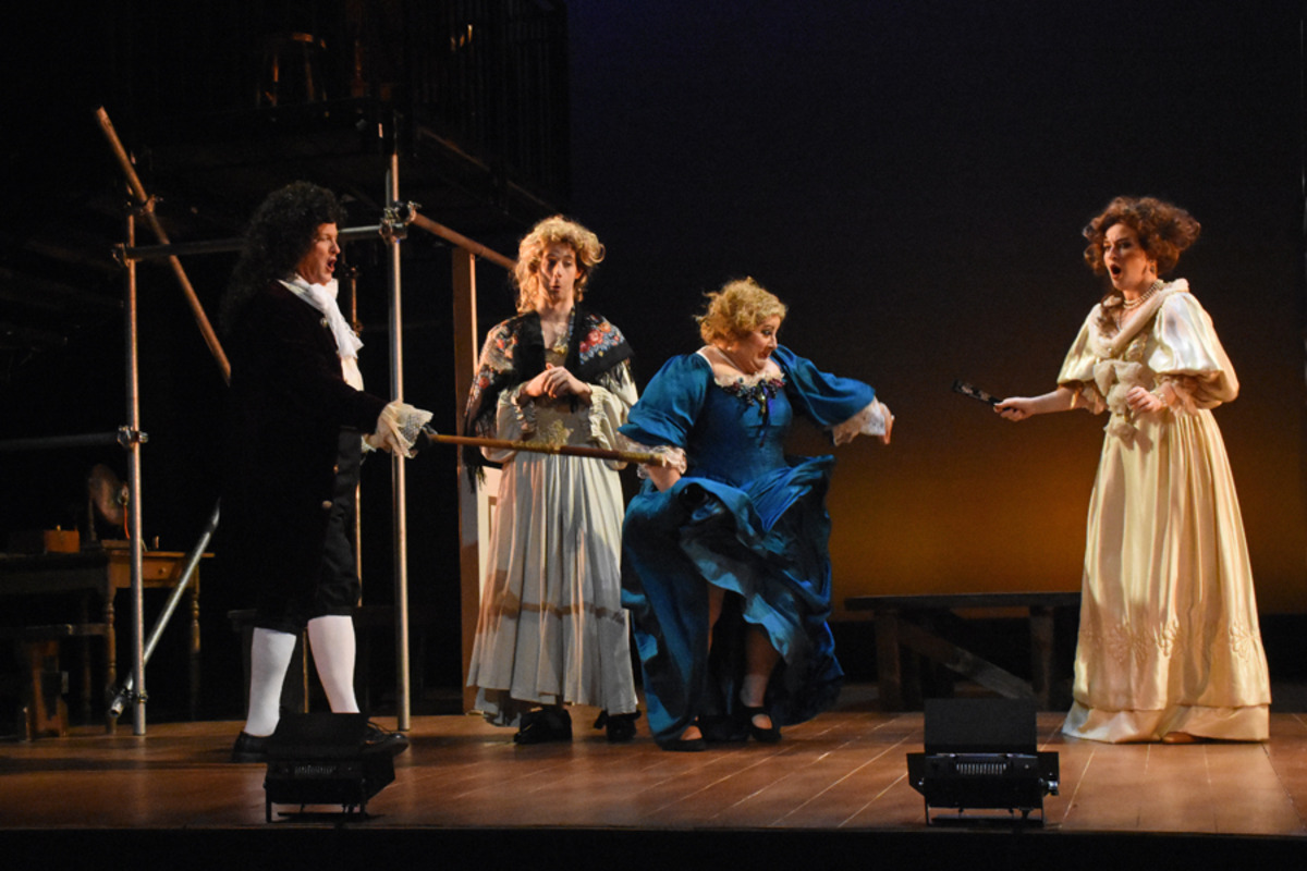 Sir Charles Sedley (N. Harrelson), Kynaston (S. Owens), Miss Frayne (M. Trovato), and Lady Meresvale (H. Ginther) - Photo by Tina Buckman