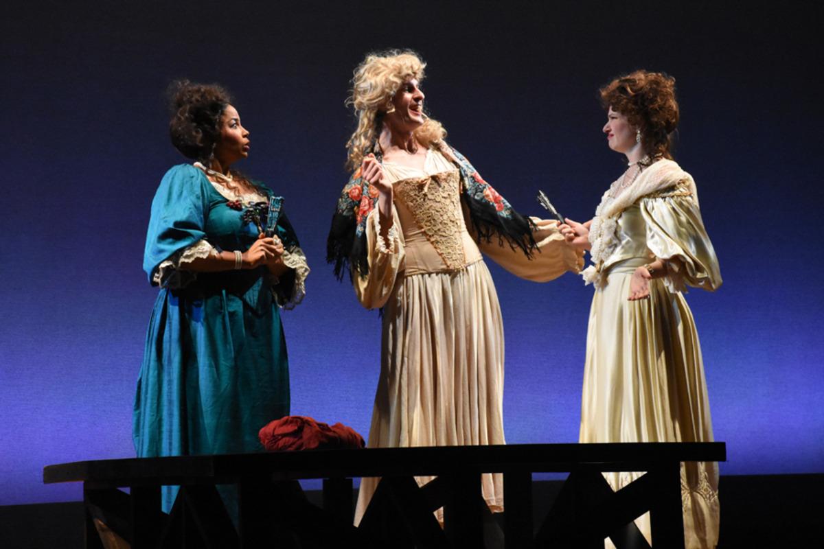 Miss Frayne (H. Hill), Kynaston (M. Kelly), and Lady Meresvale (E. Pojanowski) - Photo by Tina Buckman