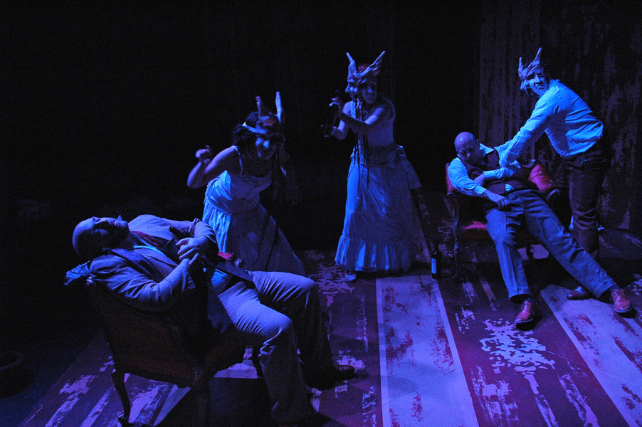 Lucas (M. Singer), Colette in disguise (C. Hoyes), Mathurine in disguise (A. Tonna), Mathurin (B. Downen), and Cleon in disguise (M. Boley) - Photo by Tina Buckman