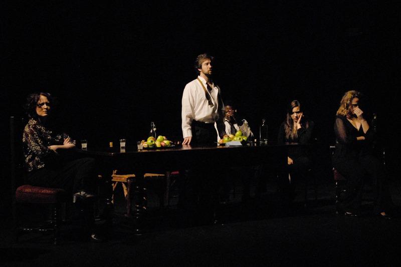 l to r: Mary (Erika Person), The President (Ross Benoliel), The Young Man (Robert Arthur Hughes), Masha (Marcelle Duarte), Louisa (Jacqueline Noparstak) Photo by Tina Buckman