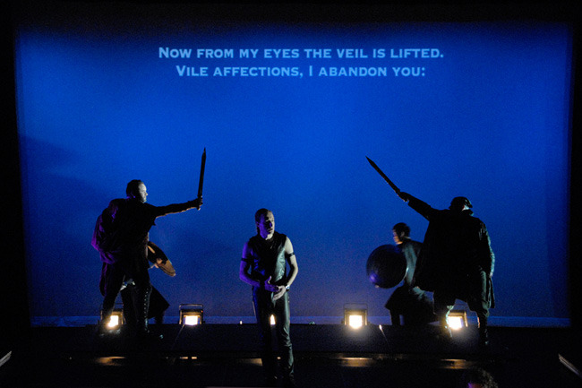 Farnace (Jeffrey Mandelbaum) at center with Mitridate (Luke Grooms) & Marzio (Brian Downen) in background - Photo by Tina Buckman